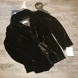 Bloomingdale's Crushed Black Velvet Wrap Jacket